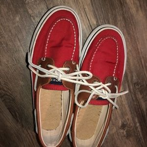 Sperry Topsider's unisex red canvas Boat shoes 8